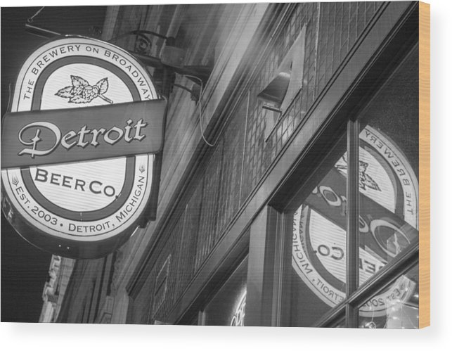 Detroit Wood Print featuring the photograph Detroit Beer Company by John McGraw