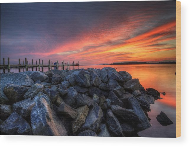 Sunset Wood Print featuring the photograph Dewey Beach Sunset by David Dufresne