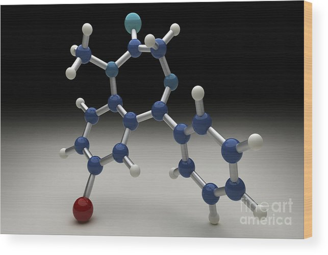 Digital Illustration Wood Print featuring the photograph Diazepam Molecule by Science Picture Co