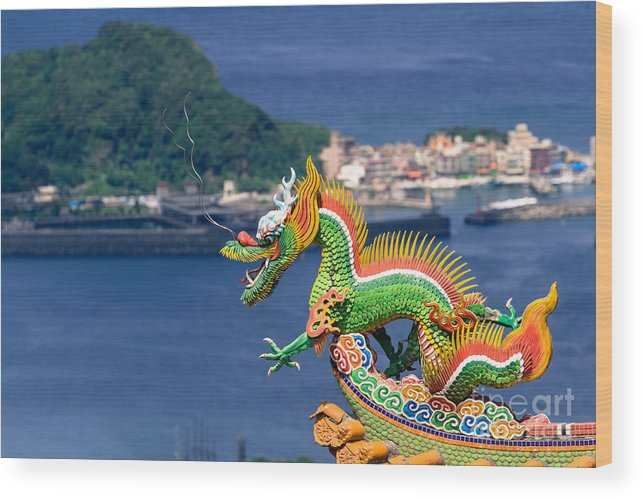 Ancient Wood Print featuring the photograph Dragon Sculpture On Roof by Tosporn Preede