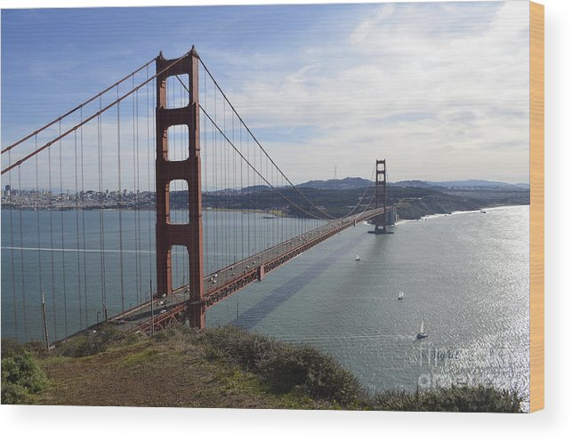 San Francisco Wood Print featuring the photograph Golden Gate Bridge - San Francisco by S Mykel Photography