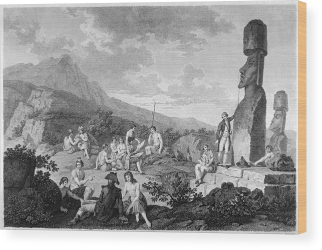 Perouse Wood Print featuring the drawing La Perouse Visits Easter Island by Mary Evans Picture Library