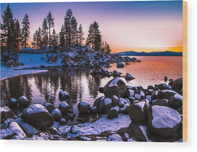 Lake Tahoe Wood Print featuring the photograph Lake Tahoe Winter Sunset by Brandon McClintock