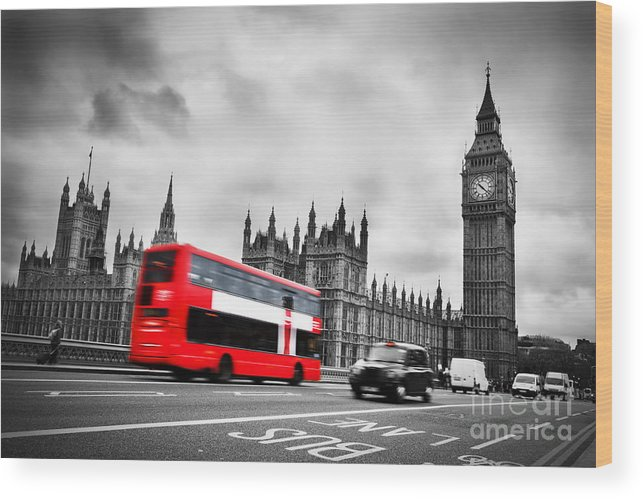 London Wood Print featuring the photograph London Uk Red Bus In Motion And Big Ben by Michal Bednarek
