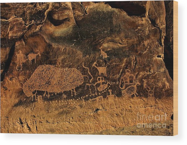 Hieroglyphs Wood Print featuring the photograph Nine Mile Canyon by Roxie Crouch