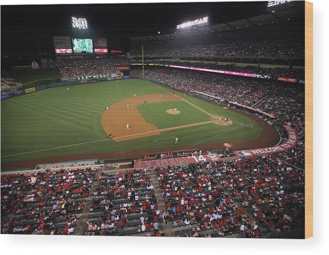 American League Baseball Wood Print featuring the photograph Oakland Athletics V. Los Angeles Angels 1 by Paul Spinelli
