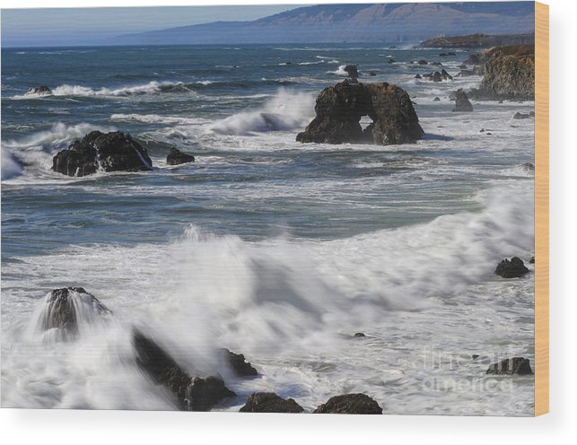 Bodega Bay California Wave Waves Water Oceans Sea Seas Pacific Ocean Bays Rock Formation Formations Rocks Spray Shore Shores Shoreline Shorelines Coast Coasts Coastline Coastlines Waterscape Waterscapes Wood Print featuring the photograph Ocean View by Bob Phillips