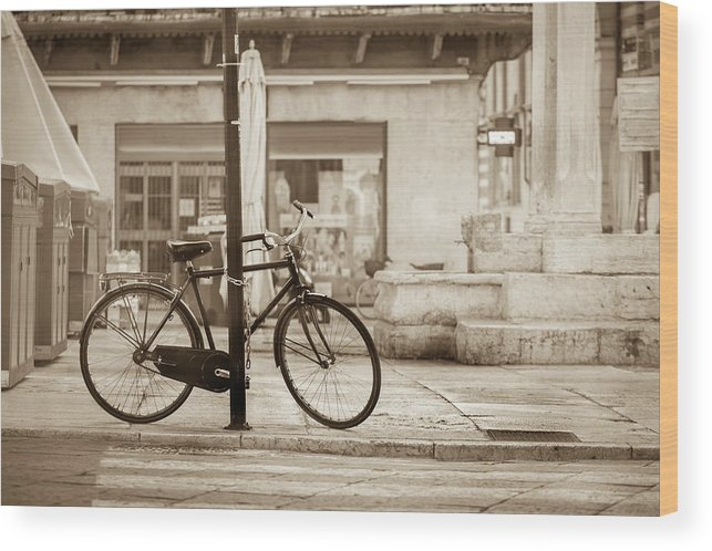 Residential District Wood Print featuring the photograph Old Bicycle Parking by Deimagine