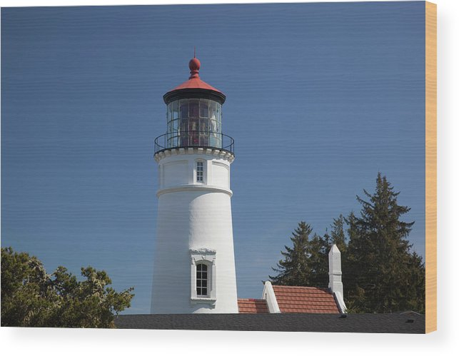 Architecture Wood Print featuring the photograph Or, Umpqua River Lighthouse by Jamie and Judy Wild