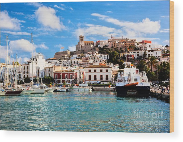 Ibiza Wood Print featuring the photograph Panorama Of Ibiza Spain by Michal Bednarek