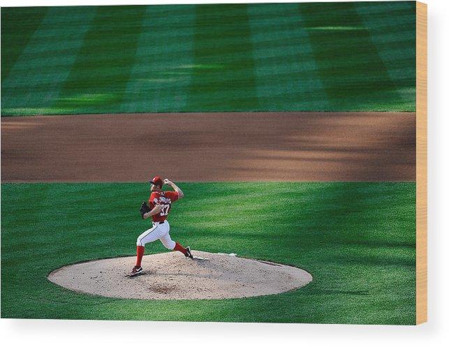 American League Baseball Wood Print featuring the photograph Philadelphia Phillies V Washington 1 by Patrick Mcdermott