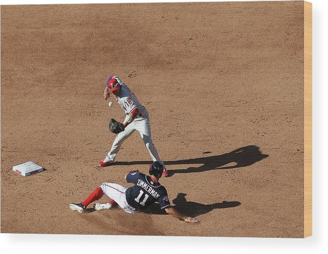 People Wood Print featuring the photograph Philadelphia Phillies V Washington 1 by Patrick Smith