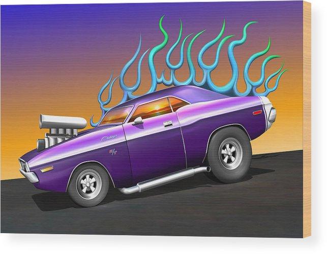 Car Wood Print featuring the digital art Plum Crazy Challenger by Stuart Swartz