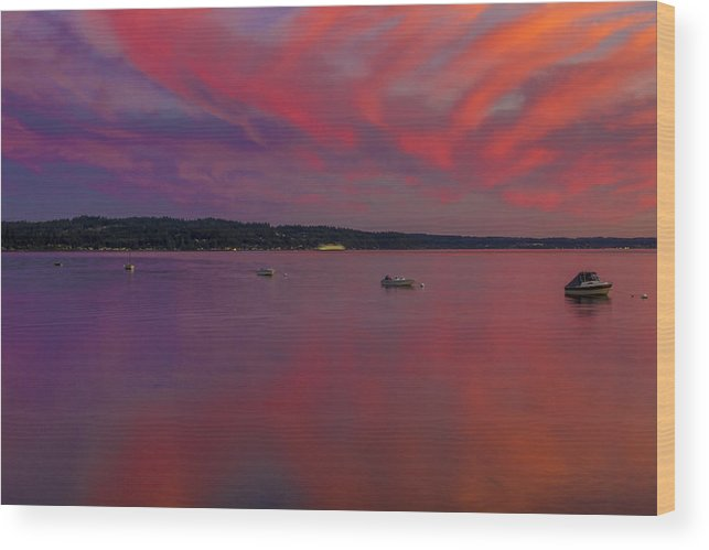 Sunset Wood Print featuring the photograph Point White Sunset by Calazone's Flics