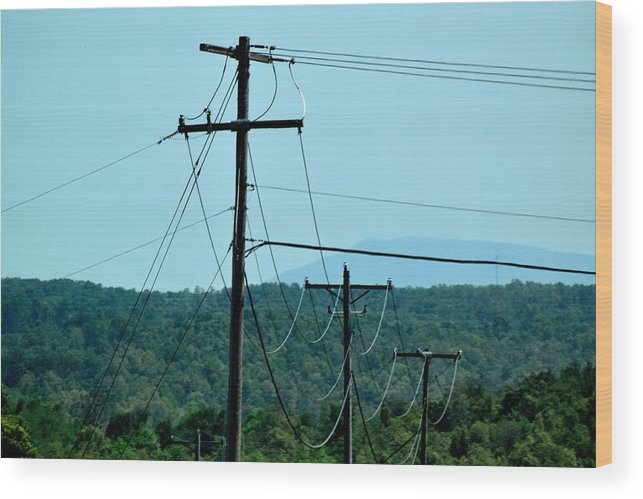 Power Lines Wood Print featuring the photograph Power Lines 52 by Lawrence Hess