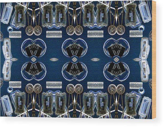 Radio Parts Wood Print featuring the digital art Radio Parts In Blue by William Durfey