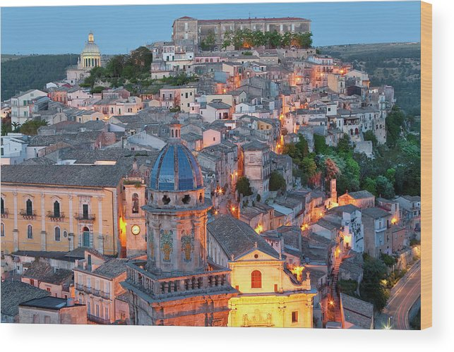 Architecture Wood Print featuring the photograph Ragusa At Dusk, Sicily, Italy by Peter Adams