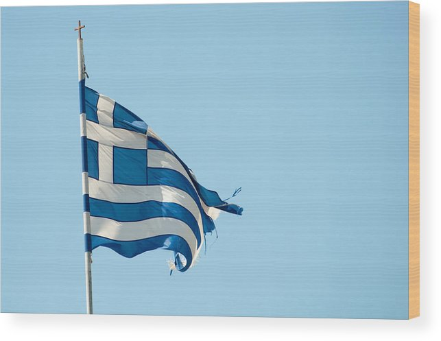 Greece Wood Print featuring the photograph Rundown Greece Flag by Frank Gaertner