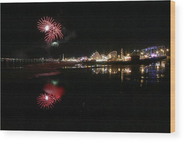 Landscape Wood Print featuring the photograph Santa Cruz Wharf 100 Year Anniversary by Jon Jochens