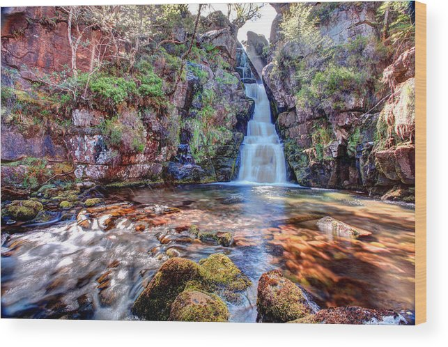 Scotland Wood Print featuring the photograph Scotish Waterfall Hdr by Ollie Taylor