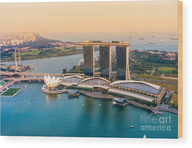 Night Wood Print featuring the photograph Singapore by Luciano Mortula