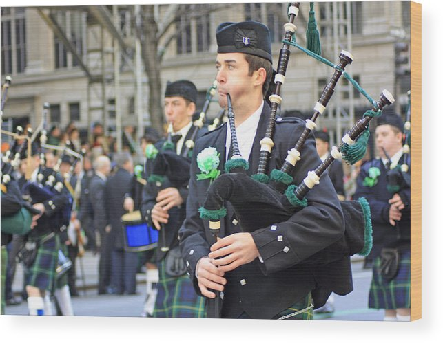 Bag Piper Wood Print featuring the photograph Some Bagpipers Marching In The 2009 New York St. Patrick Day Parade by James Connor