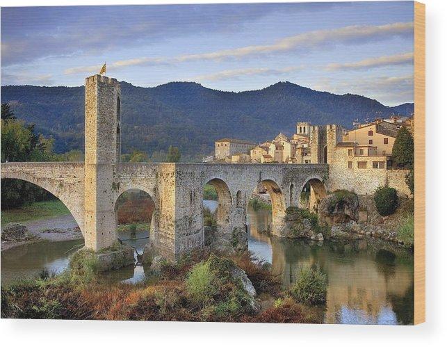 Europe Wood Print featuring the photograph Spain. Besal�. Romanesque Bridge by Everett