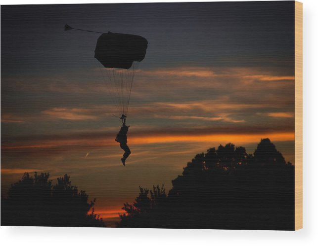 Skydiving Wood Print featuring the photograph Sunset Flight by Ken Reece