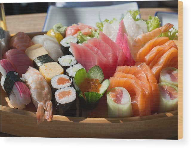 Fish Wood Print featuring the photograph Sushi And Sashimi by Frank Gaertner
