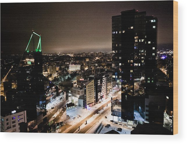 Cities Wood Print featuring the photograph Tallinn At Night by Raimond Klavins