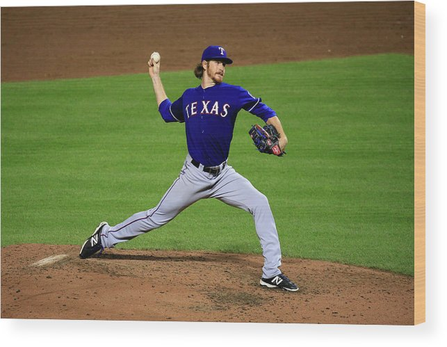 American League Baseball Wood Print featuring the photograph Texas Rangers V Baltimore Orioles 1 by Rob Carr