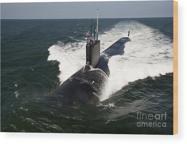 Military Wood Print featuring the photograph The Virginia-class Attack Submarine Uss by Stocktrek Images