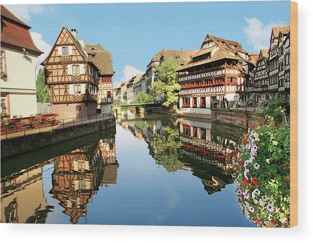 Accommodation Wood Print featuring the photograph Timbered Buildings, La Petite France by Miva Stock