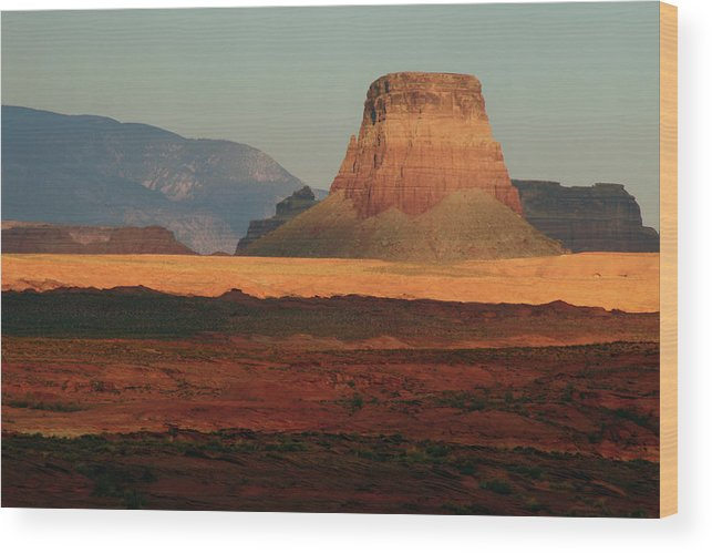 Arizona Wood Print featuring the photograph Tower Butte At Sunset, Glen Canyon by Michel Hersen