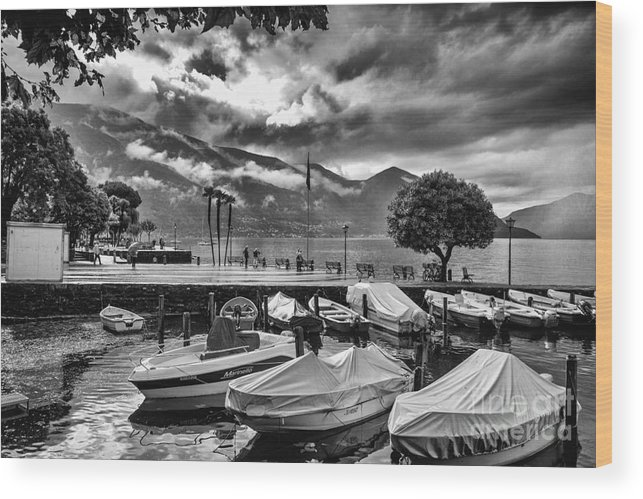 Historic Wood Print featuring the photograph Waterfront At Ascona by Timothy Hacker