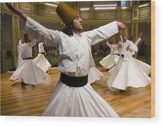 Dervishes Wood Print featuring the photograph Whirling Dervishes by For Ninety One Days