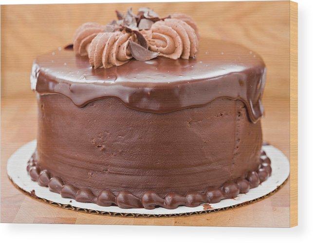 Whole Chocolate Fudge Cake Wood Print By Debbismirnoff