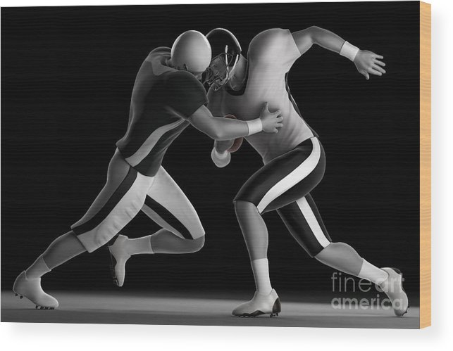Tackle Wood Print featuring the photograph Football Collision by Science Picture Co