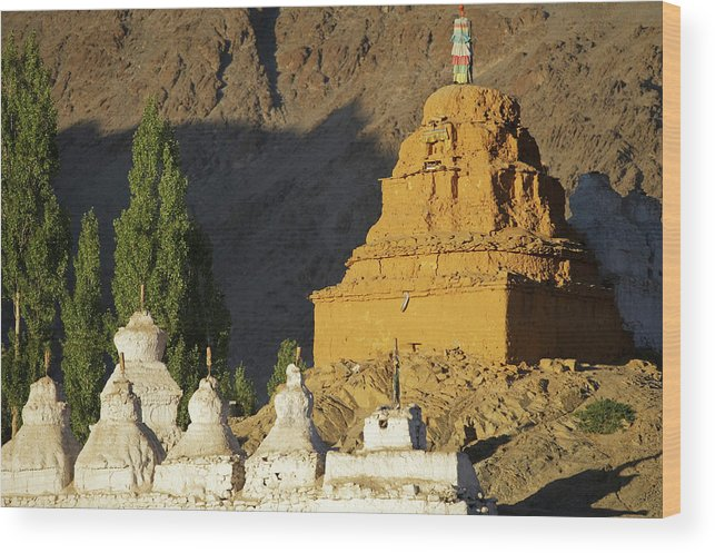 Altitude Wood Print featuring the photograph Ladakh, India Religious Structures by Jaina Mishra