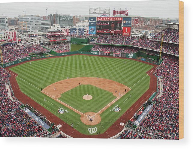 National League Baseball Wood Print featuring the photograph Atlanta Braves V. Washington Nationals by Mitchell Layton