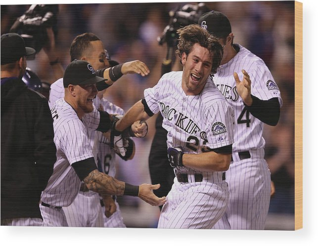 Celebration Wood Print featuring the photograph New York Mets V Colorado Rockies by Doug Pensinger