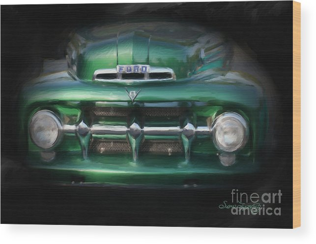 Susan Lipschutz Wood Print featuring the digital art 1937 Ford Pick Up Truck Front End by Susan Lipschutz