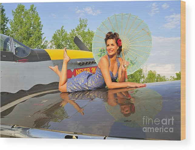 P-51 Mustang Wood Print featuring the photograph 1940s Style Pin-up Girl With Parasol by Christian Kieffer