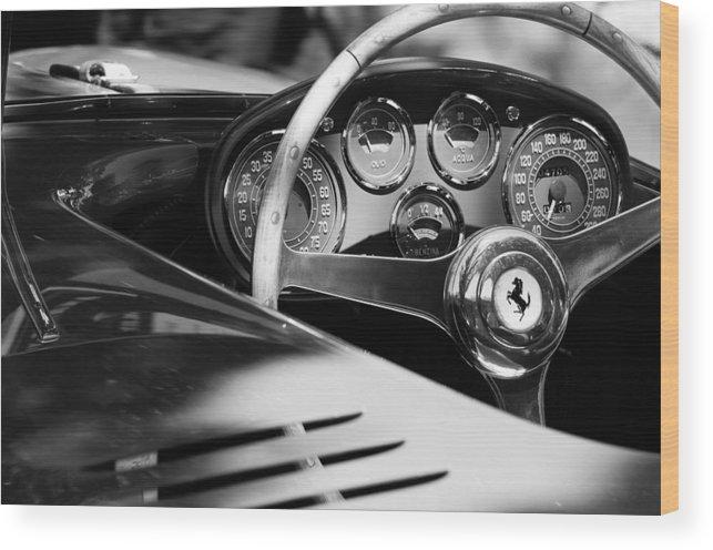 1954 Ferrari 500 Mondial Spyder Steering Wheel Emblem Wood Print featuring the photograph 1954 Ferrari 500 Mondial Spyder Steering Wheel Emblem by Jill Reger