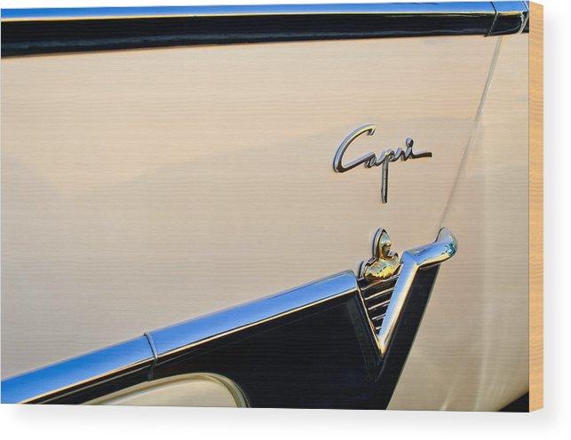 1954 Lincoln Capri Convertible Wood Print featuring the photograph 1954 Lincoln Capri Convertible Emblem 2 by Jill Reger