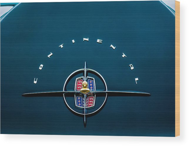 1956 Lincoln Continental Mark Ii Coupe Emblem Wood Print featuring the photograph 1956 Lincoln Continental Mark II Coupe Emblem by Jill Reger