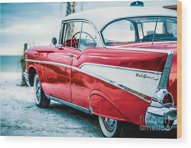 1957 Wood Print featuring the photograph 1957 Chevy Bel Air by Edward Fielding