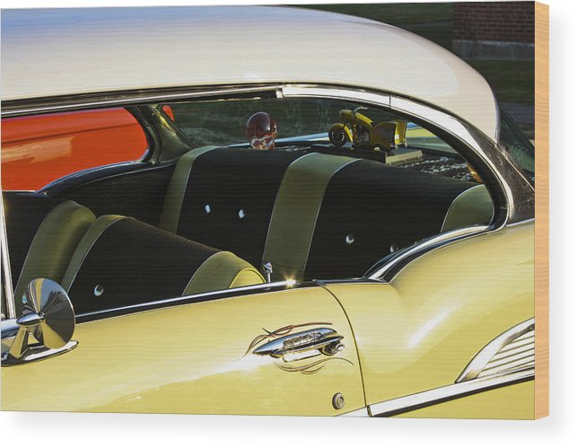 1957 Chevy Bel Air Yellow Interior Wood Print By Dennis Coates