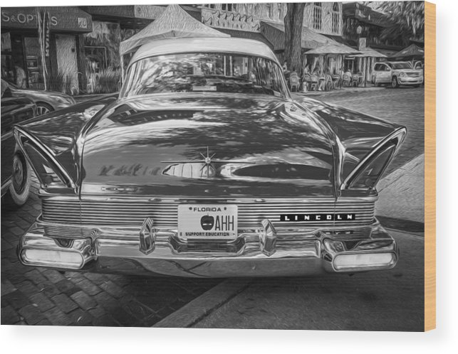 Lincoln Wood Print featuring the photograph 1957 Lincoln Premiere Coupe Painted Bw  by Rich Franco