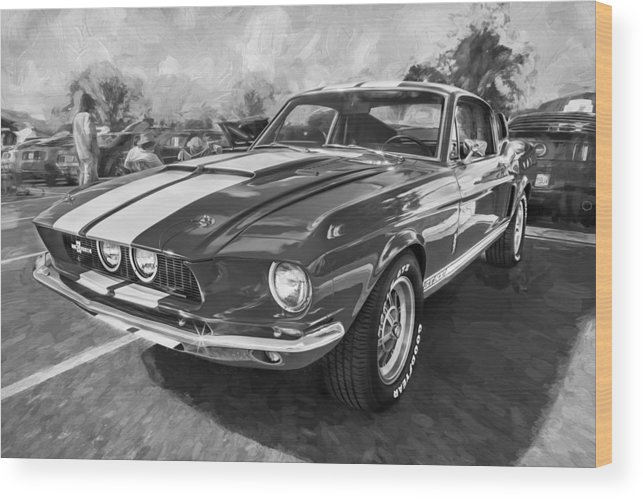 1967 Ford Shelby Gt500 Wood Print featuring the photograph 1967 Ford Shelby Mustang Gt500 Painted Bw by Rich Franco